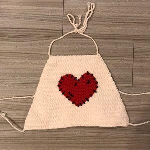 Tops - Heart Crochet Crop Top